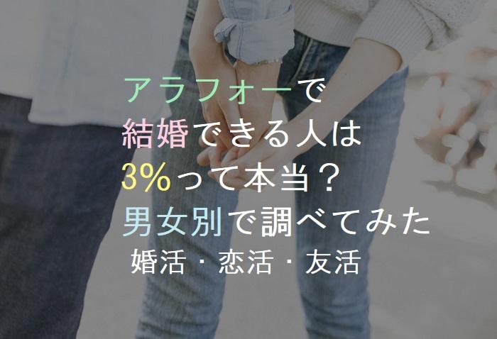 アラフォーで結婚できる人は3%って本当?男女別で調べてみた・婚活・恋活・友活