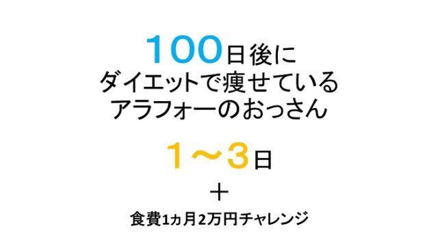 【1-3日目】100日後に細身になっているアラフォー無職のおっさん!食費生活2万円も同時にスタート